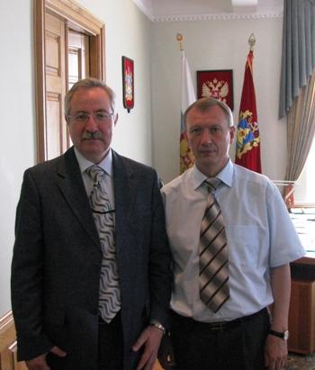 Президент МЦБС Е.И. Кузьмин и губернатор Брянской области Н.В. Денин